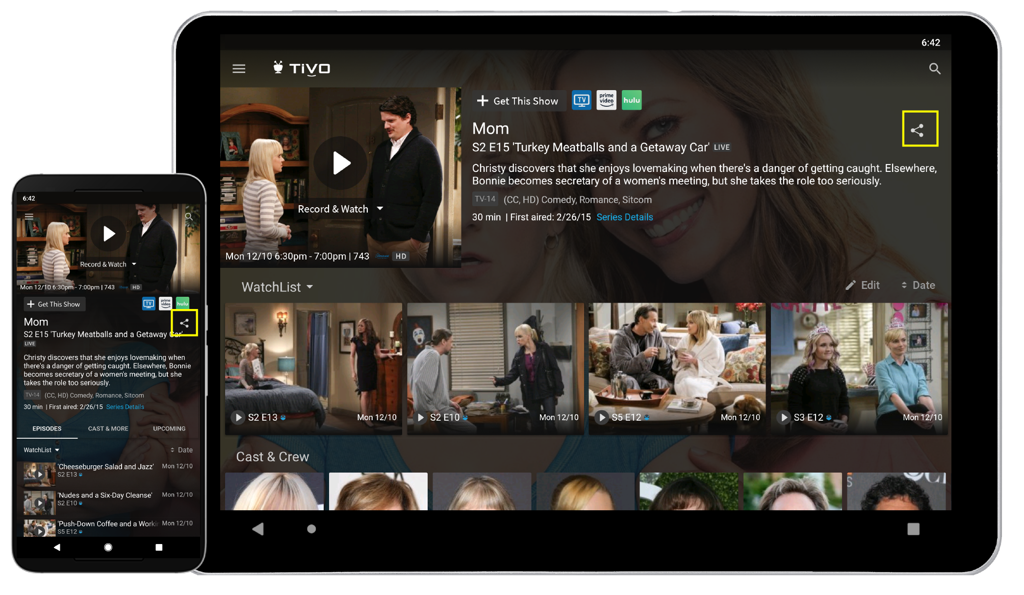 The TiVo app for Android devices