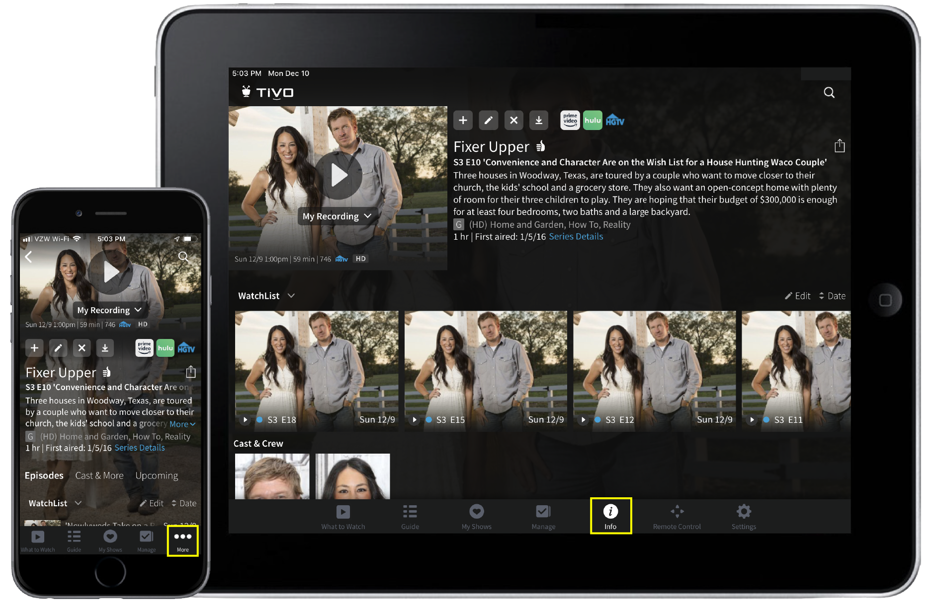 The TiVo app for iOS devices